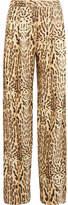 ADAM by Adam Lippes Printed Wool-twill Wide-leg Pants - Leopard print