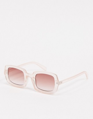 A. J. Morgan AJ Morgan oversized square sunglasses in clear pink