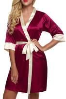 Ekouaer Women's Short Kimono Robe Lingerie Silky Lace Trim Satin,Red/L