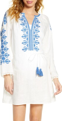 Tory Burch Embroidered Linen Cover-Up Tunic