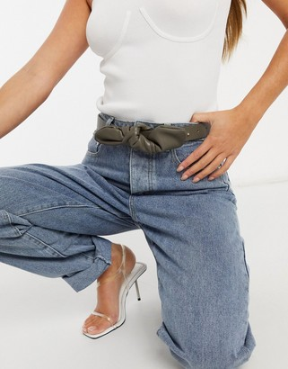 My Accessories London waist and hip jeans belt with twist knot in khaki faux leather