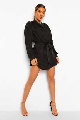 boohoo Draped Neck Belted Shift Dress