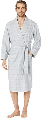 Nautica Windowpane Plaid Robe (Neutral Grey) Men's Robe