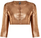 Lisa Marie Fernandez Cropped Metallic Cardigan - Womens - Bronze