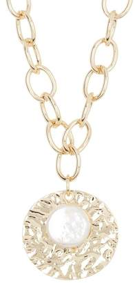 Cara Accessories Hammered Disc & 14mm Pearl Pendant Necklace