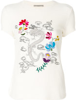 Ermanno Scervino dragon embroidered T-shirt - women - Silk/Cashmere/Wool - 40