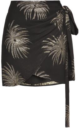 Victoria Victoria Beckham Wrap-effect Metallic Jacquard Mini Skirt