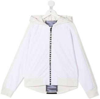 DKNY TEEN logo-strip zip-up hoodie