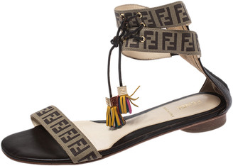 Fendi Brown Zucca Coated Canvas Tassel Open Toe Ankle Wrap Sandals Size 38