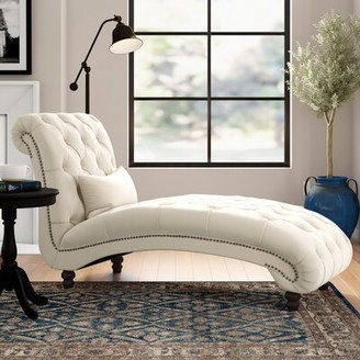 Three Posts Huskins Tufted Chaise Lounge Upholstery Color: Heathered Beige