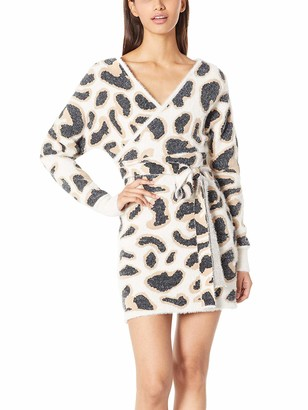 Beautiful Nomad Women Leopard Sweater Long Sleeve Casual Fitted Knit Pullover Jumper Dress with Belt for Winter Khaki
