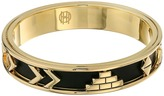 House Of Harlow Aztec Bangle with Black Leather Bracelet