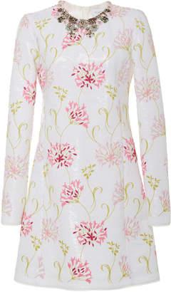 Giambattista Valli Embellished Sequined Crepe Mini Dress