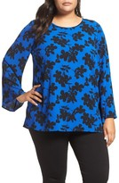 Vince Camuto Plus Size Women's Small Fresco Blooms Bell Sleeve Blouse