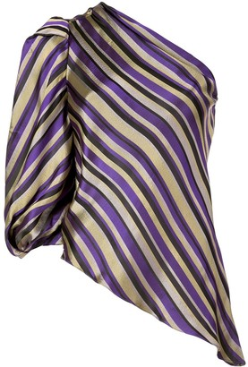 Josie Natori jacquard one shoulder blouse