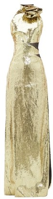Dundas Rosette High-neck Sequinned Dress - Womens - Gold