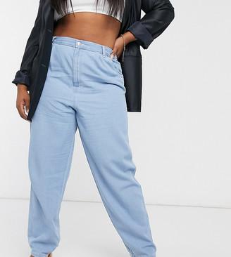 ASOS DESIGN Curve lightweight mom jeans in midwash