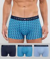 Tommy Hilfiger 3 Pack Trunks In Light Blue/Navy Solid & Blue Star Print