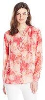 Calvin Klein Women's Long-Sleeve Button-Front Top with Pintucks