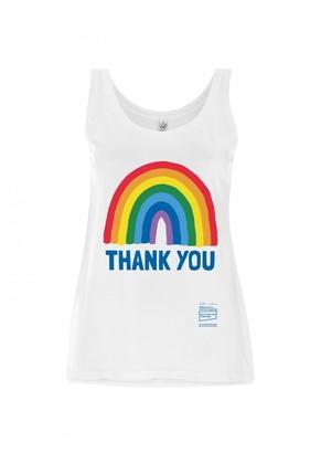 Little Mistress x Kindred Rainbow Thank You NHS Women's White Rainbow Tencel Blend Vest