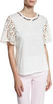 Giambattista Valli Embroidered Lace-Sleeve Top, White