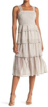 Spirit Of Grace Layered Ditsy Print Woven Midi Dress