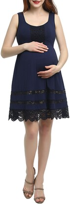Kimi and Kai Savana Lace Trim Maternity Skater Dress
