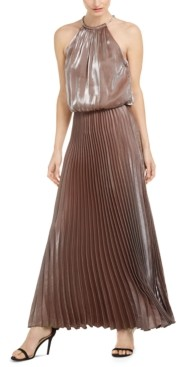 MSK Liquid Shimmer Pleated Blouson Halter Gown