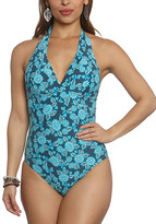 Betty's Beach Bungalow Women's One Piece Swimsuits TEAL - Teal Floral Halter One-Piece - Women