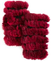 Jocelyn Plucked Rabbit Fur Fingerless Mittens