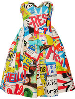Moschino Strapless Printed Cotton-blend Faille Dress - Blue