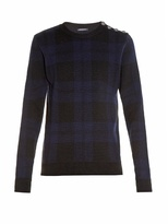 Balmain Crew-neck Tartan-checked Wool Sweater