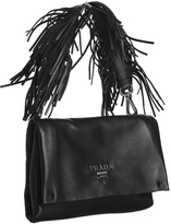 Prada black lambskin fringed small bag