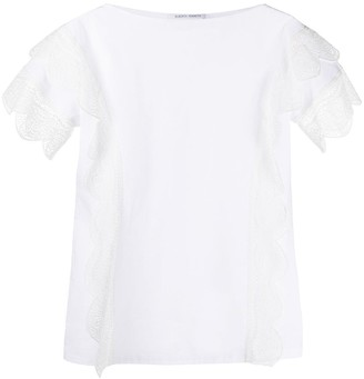 Alberta Ferretti scalloped lace boxy T-shirt