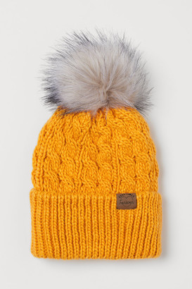 H&M Knit Hat with Pompom - Yellow