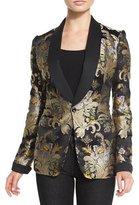 Ralph Lauren Collection Baroque-Print Brocade Jacket, Black/Gold