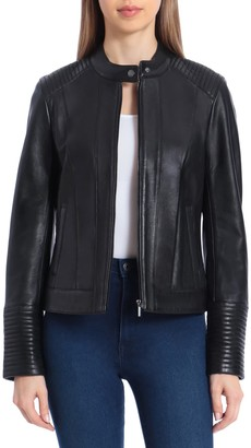 Badgley Mischka Quilted Lamb Leather Moto Jacket