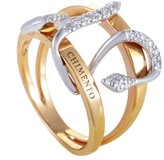Chimento 18K Rose and White Gold Diamond Snake Band Ring Size 6.5
