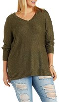 Charlotte Russe Plus Size V-Neck Pullover Sweater