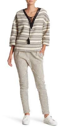 Rebecca Minkoff Sava Striped Tassel Pull-On Pants