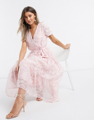 Vila organza maxi dress with puff sleeves in pink floral
