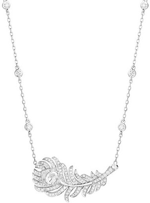 Boucheron Plume de Paon 18K White Gold & Diamond Peacock Feather Pendant Necklace
