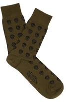Alexander Mcqueen Skull-jacquard Cotton-blend Socks