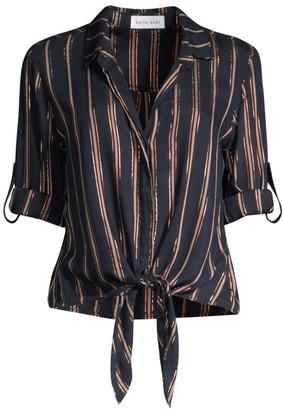 Bella Dahl Metallic Stripe Roll-Tab Tie-Front Shirt