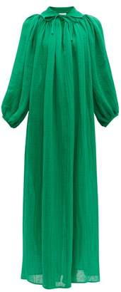 Lisa Marie Fernandez Poet Tie-neck Linen-blend Dress - Womens - Green