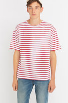 Armor Lux Short Sleeve White And Red Striped Shirt