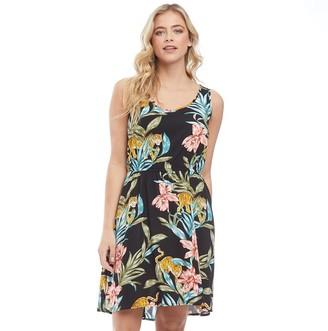 Only Womens Nova Sara All Over Print Dress Black/Jungle Zoo