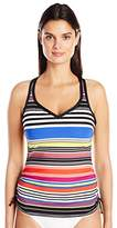 Jag Women's Reactive Stripe D-DD Cup Underwire Swimsuit Tankini Top
