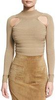 Cushnie et Ochs Ribbed Mock-Neck Thong Bodysuit with Cutouts, Beige