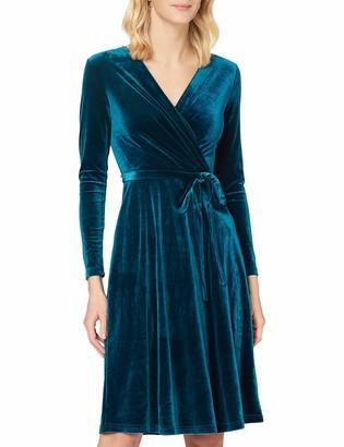 Yumi Women's Teal Velvet Wrap Teal Velvet Wrap Casual Dress